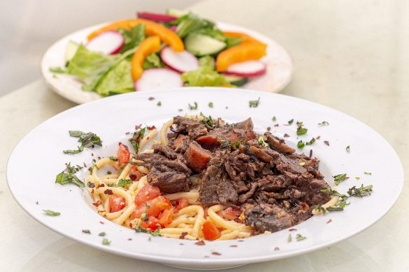 Pasta and Bottom Round Steak with Side Salad