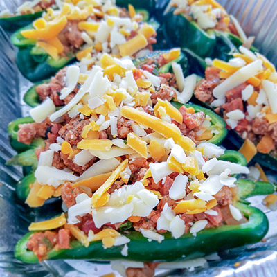 Stuffed Poblanos in pan
