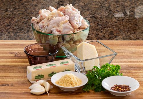 Ingredients for parmesan chicken wings.
