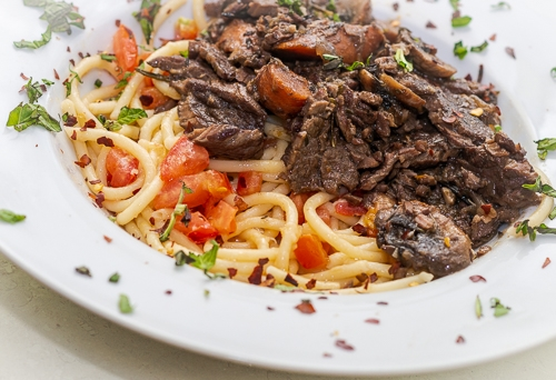perfect pasta and bottom round steak dish