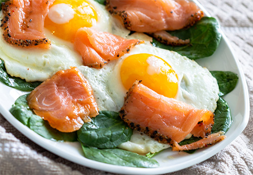 Smoked Salmon, Eggs and Fresh Spinach