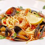 Mussels and Shrimp Pasta in Bowl