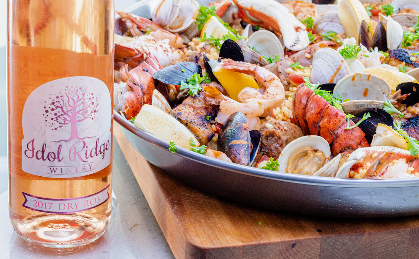 Paella and Rose Wine